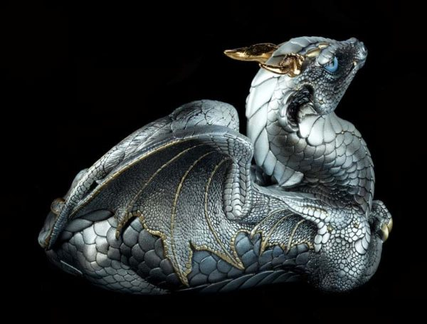 Windstone Editions collectible dragon figurine - Old Warrior Dragon - Silver (silvery version)