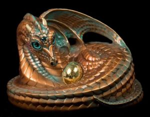 Mother Coiled Dragon - Copper Patina (teal eyes)