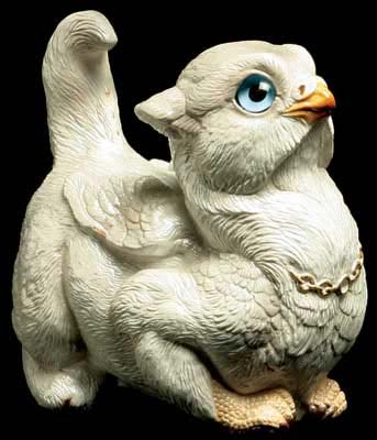 Crouching Griffin Chick - Pearl