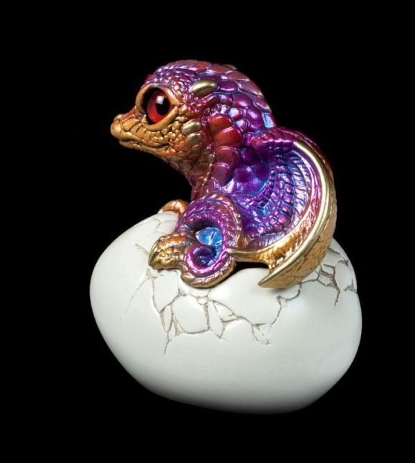 Windstone Editions collectable dragon sculpture - Hatching Dragon (version 2) - Violet Flame
