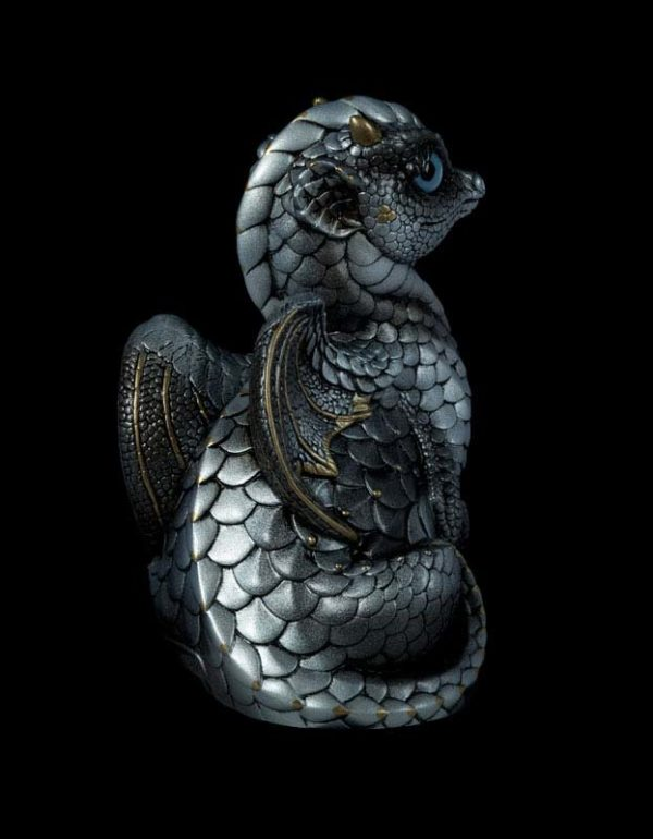 Windstone Editions collectable dragon sculpture - Fledgling Dragon - Silver (silvery version)