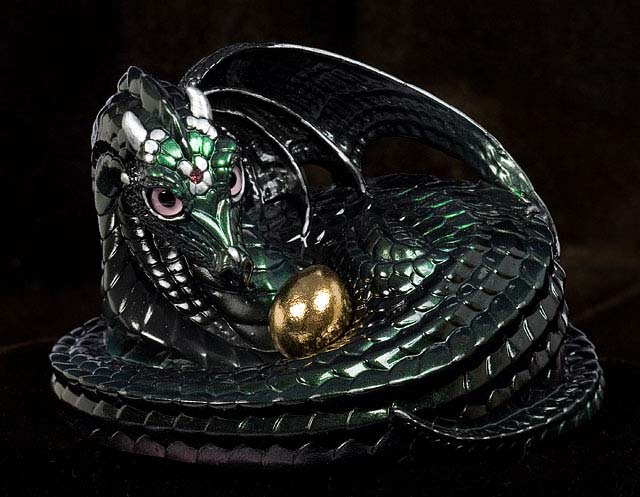 Black Emerald Pearl Mother Coiled Dragon by Windstone Editions