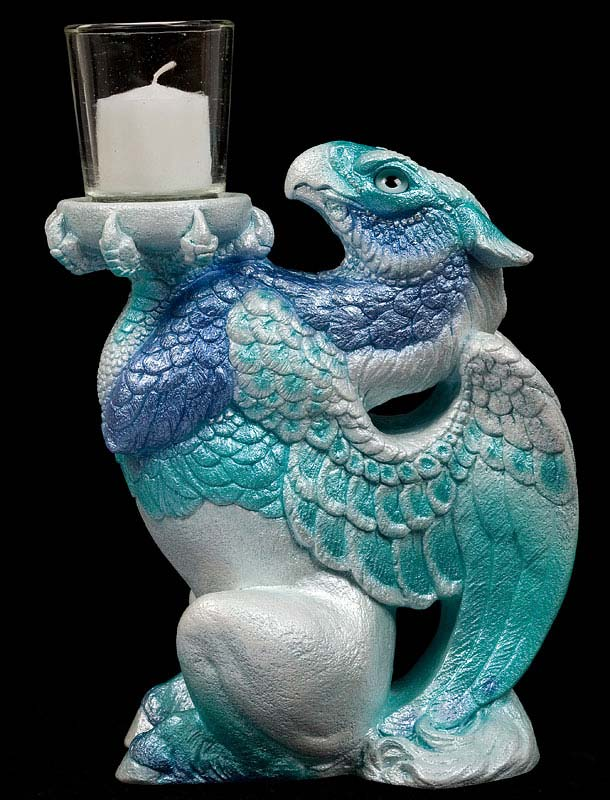Blue Ice Hippogrif Candle Lamp by Windstone Editions