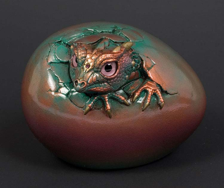 Red Copper Patina Hatching Kinglet Dragon by Windstone Editions