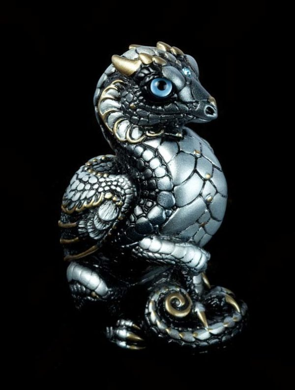 Windstone Editions collectable dragon sculpture - Mini Keeper Dragon - Silver (intense black version)