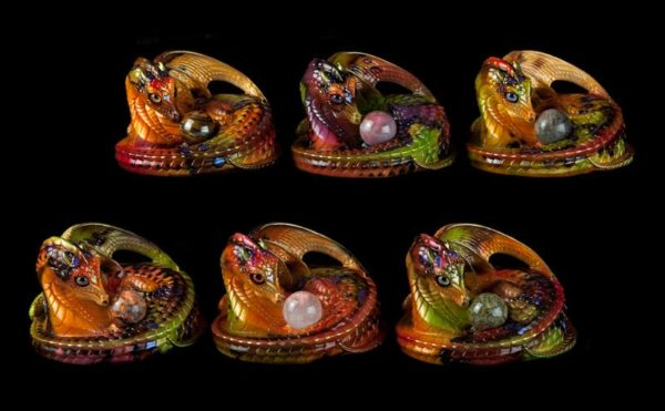Windstone Editions collectible dragon figurines - Mother Coiled Marble Dragon Grab Bag - Autumn Leaf