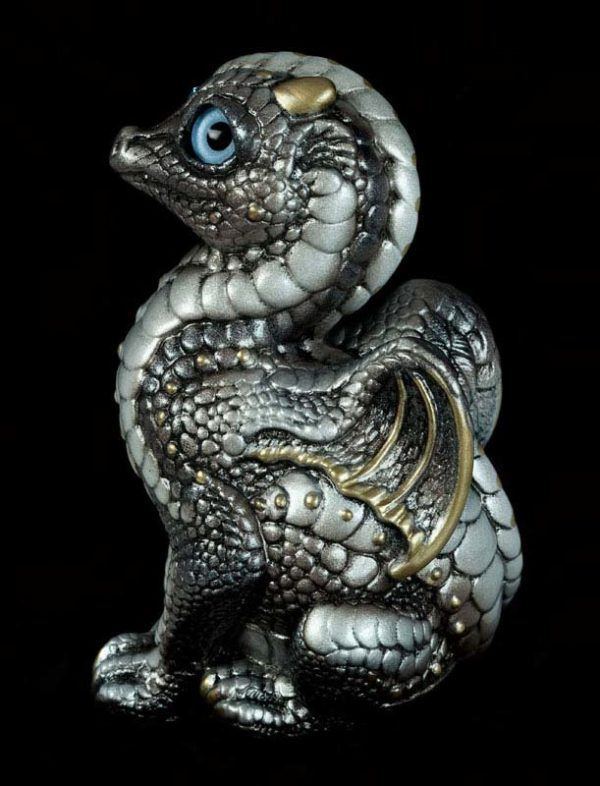 Windstone Editions collectable dragon sculpture - Baby Dragon - Silver (silvery version)