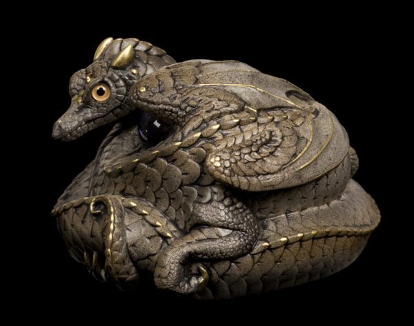 Windstone Editions collectable dragon sculpture - Coiled Dragon - Stone